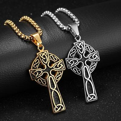 "Men Large Celtic Cross Stainless Steel Pendant Necklace Chain 24"" Gold Silver"