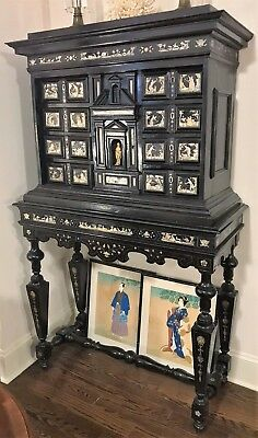 17th Century Italian Cabinet on Stand Ebonised & Engraved Bone Inlaid Pictorial