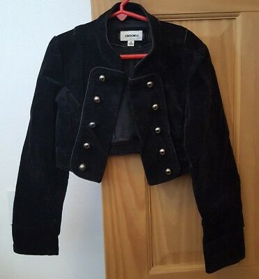Vintage Girls Size 8 Black Velvet Cropped Jacket  Mandarin Collar Limited Too