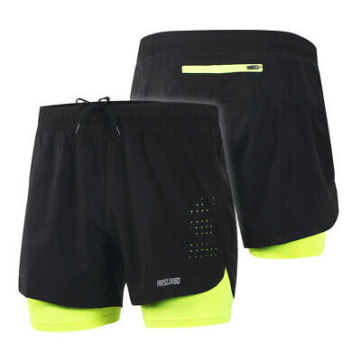 Arsuxeo Men's 2-in-1 Running Shorts Quick Drying Breathable Active Training M1J3