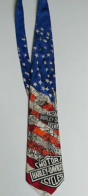 Harley Davidson Tie With The American Flag Bald Eagle Made in USA Happy 4th