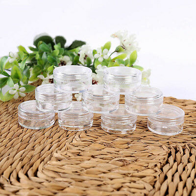 50Pcs 3/5g Clear Plastic Empty Cosmetic Sample Containers Jars Pots Small Empty