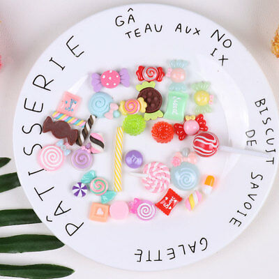 30pcs Resin Flatback Candy Sweets Slime Beads Making Supplies for DIY Crafts
