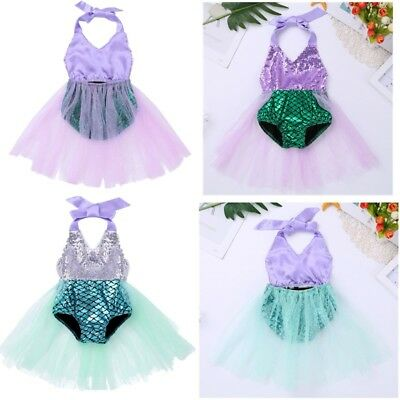 Baby Girl Mermaid Scale Swimsuit Swimwear Swimming Costume Beachwear Tutu Dress