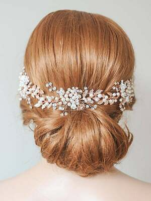 Bridal rose gold pearl and crystal hairpiece