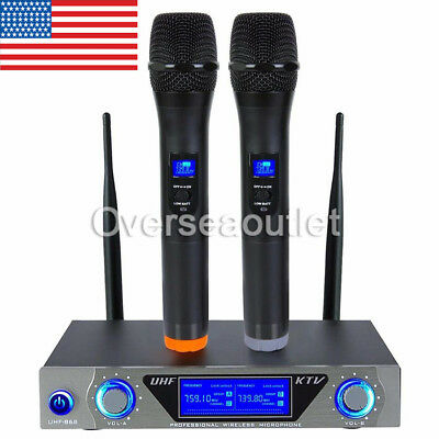 Pro VHF Wireless 2 Channel Dual Handheld Microphone Mic System Kits Party KTV