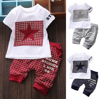 2PCS Summer Baby Toddler Kids Boys Clothes Printed T-shirt Tops + Pants Outfits