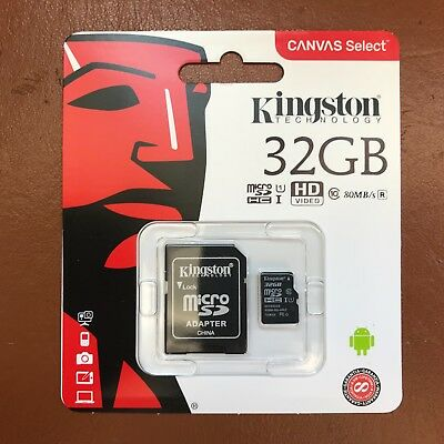 Kingston Micro SD 32GB SDHC Memory Card Mobile Phone Class 10 With SD ADAPTER