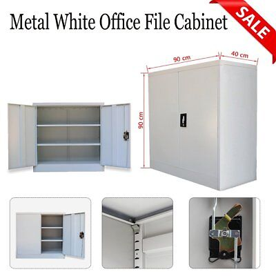 Office Metal Filing Cabinet Tools Book Storage Steel Cupboard 2 Shelves 2 Doors