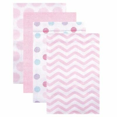 Luvable Friends Flannel Receiving Blankets, 4 Count, Pink Dots