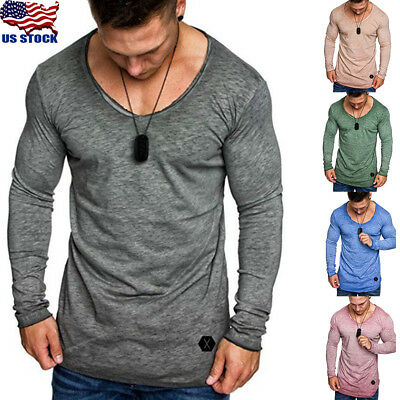 Men's Slim Fit V Neck Long Sleeve Muscle Tee Shirts Casual T-shirt Tops Blouse T