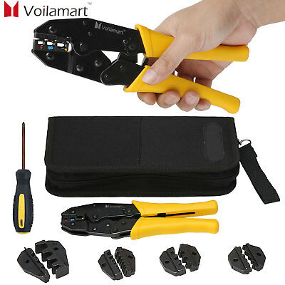 Insulated Cable Connector Crimper Tool Kit Wire Terminal Ratchet Plier Crimping