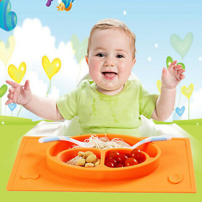Hot Baby Kids Snack Food Mat Silicone Non Slip Placemat Suction Table Plate Tray