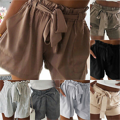 Womens High Waisted Tie Belt Shorts Ladies Summer Plain Trousers Pants Bottoms