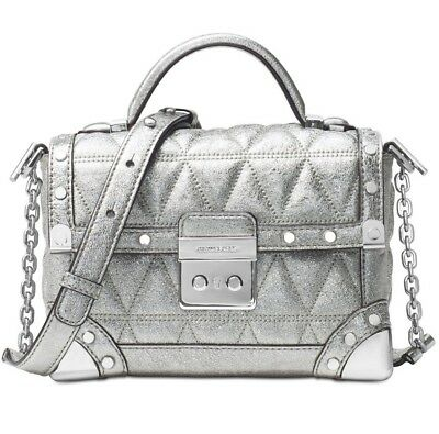 ba64b5338559c NEW MICHAEL KORS Cori Small Trunk bag Pyramid quilted metallic crackle  leather -  220.99