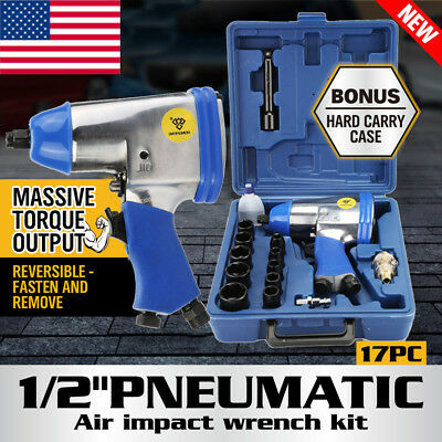 """17Pc 1/2"""" Drive Air Impact Wrench With 10 1/2 Dr Sockets 1Extension Bar Oiler Bp"""