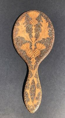 Antique Arts & Crafts Wooden Pokerwork Hand Mirror Scottish Thistle Detail