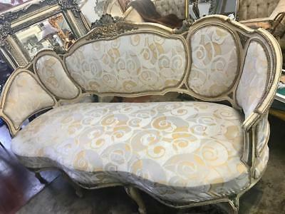 Antique French Louis Xv Style Cream Upholstered Cream & Gold Painted Salon Sofa