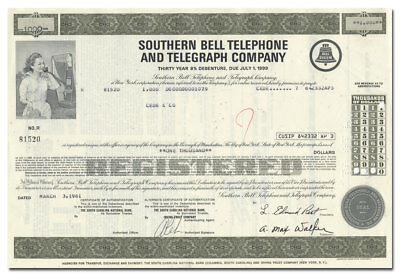 Southern Bell Telephone and Telegraph Company Bond Certificate