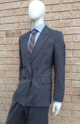 Grey Mens Suit 100% PURE WOOL Vintage GIOTTO Size M Double Breasted Jacket Pants