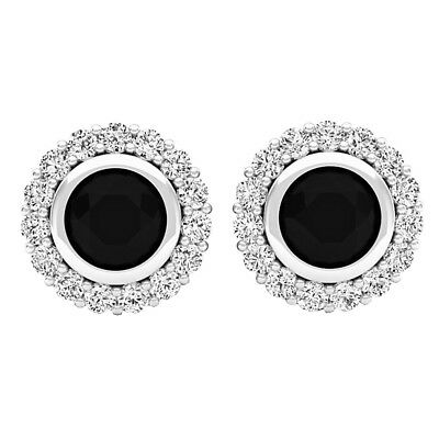 1.35 CT Sterling Silver Round Black & White Diamond Ladies Halo Stud Earrings