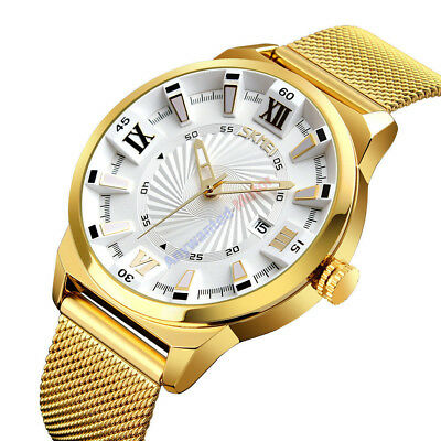 SKMEI Men Watches  Fashion Business Luxury Gold Quartz Watch Waterproof