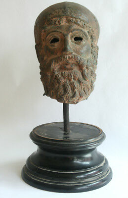 huge fantastic  antique bronze head of a hellenistic soldier