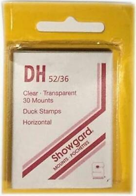 Showgard Clear Stamp Mounts DH 52 / 36 mm Use For US Duck Stamps New Pack Of 30