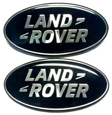 LAND ROVER BLACK FRONT & REAR BADGE SET X 2 Range Rover Sport Discovery 3