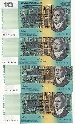 R313 $10 Fraser/Cole Twin Set of Four Notes Consecutive Prefixes and serials Unc