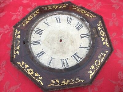 """Nice Brass Inlaid Clock Surround Black Forest For 9"""" Dial Rosewood"""