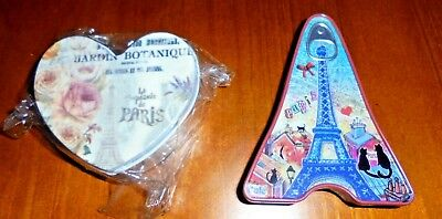 2 small Eiffel Tower (Paris) Collectable tins ~ New cond ~ Can + heart style!