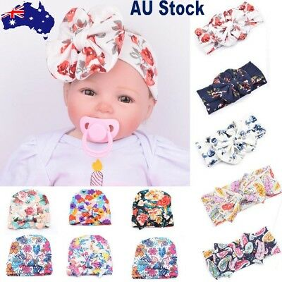 Fashion Newborn Baby Infant Girl Toddler Comfy Bowknot Hospital Beanie Hat AU