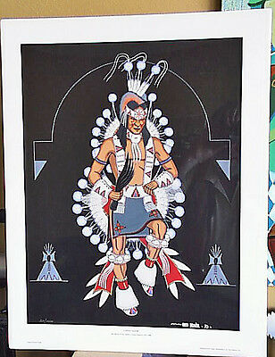 S/N LE Fred Beaver 1970 Contest Dancer Print Iconic Creek Seminole Ceremony 211/
