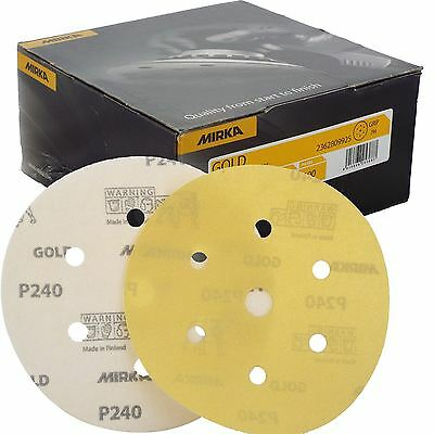 "Mirka Gold Hook-It DA Sanding Discs � 150mm 6"" 240 Grit 6+1 Hole Sander Pads"