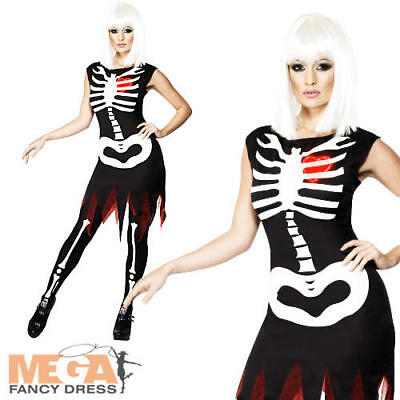 Womens Bare Bones Skeleton Halloween Costume Fancy Dress Outfit Adult Size 14-16