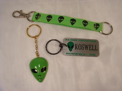 Lot Of 3 Roswell Nm Green Alien Face Key Chains Alien Country Area 51