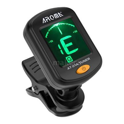 AROMA AT-01A Rotatable Clip-on Tuner LCD Display for Chromatic Guitar Bass J8S1