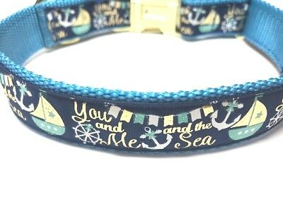 Blue, Gold and White Dog Collar With Sail Boats and Anchors, Nautical Dog Collar