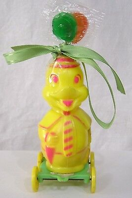 Vintage 1950s Plastic Yellow Anthro Duck on Wheels Candy Container with Contents