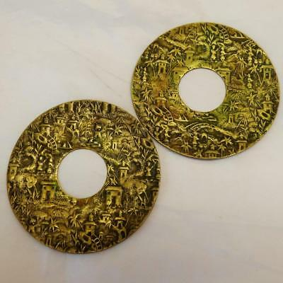 Antique Chinese DISKS c1800 brass display detailed images CANDLES / TSUBA
