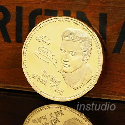 Elvis Presley Rock and Roll Gold Coin Commemorative Music Fans Gift Collection