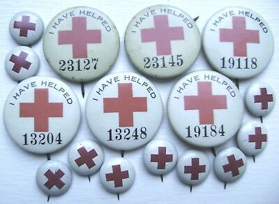 I Have Helped & Other WW Red Cross PinBack Buttons