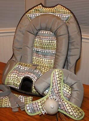 Graco Lovin' Hug Swing Replacement Seat Cover Straps Supports Mobile Green Dots