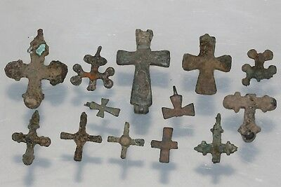 Nice Lot Of 13 Byzantine and Early Medieval Bronze Christian Crosses