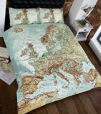 World Map Atlas Quilt Cover Vintage Retro Bedding ~ Single Double King FREE P&P