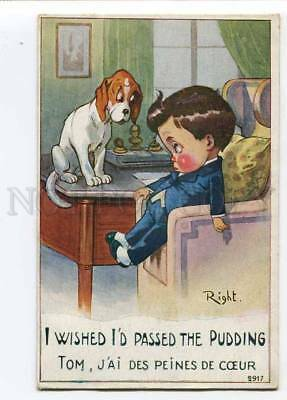 279831 COMIC heavy eater Boy w/ DOG by RIGHT Vintage LAPINA PC