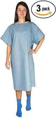 3 Pack - Blue Hospital Gown with Back Tie / Hospital Patient Gown with Ties - On