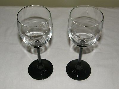 Cristal d'Arques Crystal Domino Pattern Black Stem Water Goblet Wine Glasses