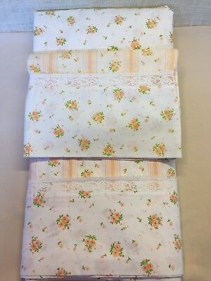 Vintage Springmaid 3 Piece Twin Sheet Set Dimity Delight Peach